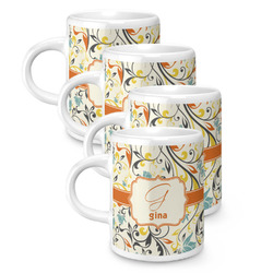 Swirly Floral Espresso Mugs - Set of 4 (Personalized)