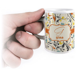 Swirly Floral Espresso Mug - 3 oz (Personalized)