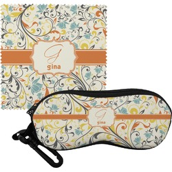 Swirly Floral Eyeglass Case & Cloth (Personalized)