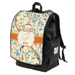 Swirly Floral Backpack w/ Front Flap  (Personalized)