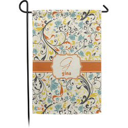 Swirly Floral Garden Flags With Pole - Single or Double Sided (Personalized)