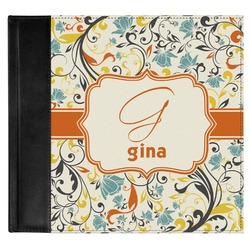 Swirly Floral Genuine Leather Baby Memory Book (Personalized)