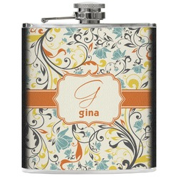 Swirly Floral Genuine Leather Flask (Personalized)