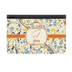 Swirly Floral Genuine Leather ID & Card Wallet - Slim Style (Personalized)