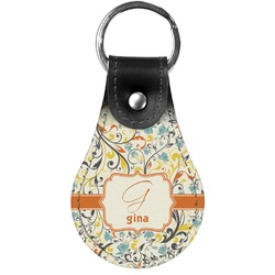 Swirly Floral Genuine Leather  Keychain (Personalized)