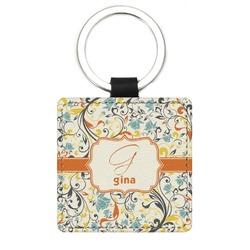 Swirly Floral Genuine Leather Rectangular Keychain (Personalized)