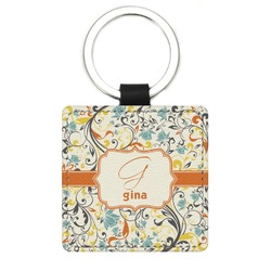 Swirly Floral Genuine Leather Rectangular Keychain (Personalized)