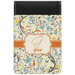 Swirly Floral Genuine Leather Small Memo Pad (Personalized)