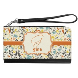 Swirly Floral Genuine Leather Smartphone Wrist Wallet (Personalized)