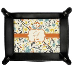 Swirly Floral Genuine Leather Valet Tray (Personalized)