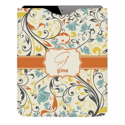 Swirly Floral Genuine Leather iPad Sleeve (Personalized)