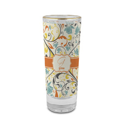 Swirly Floral 2 oz Shot Glass - Glass with Gold Rim (Personalized)