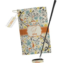 Swirly Floral Golf Towel Gift Set (Personalized)