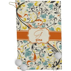 Swirly Floral Golf Towel - Full Print (Personalized)