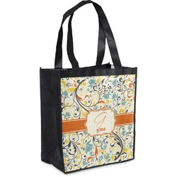 Swirly Floral Grocery Bag (Personalized)