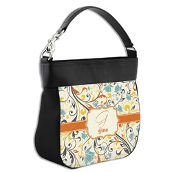 Swirly Floral Hobo Purse w/ Genuine Leather Trim (Personalized)