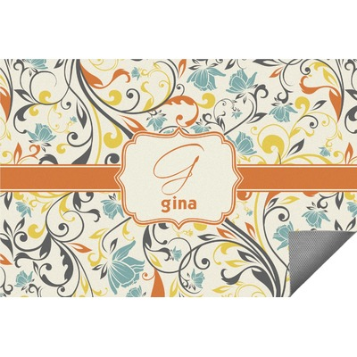 Swirly Floral Indoor / Outdoor Rug (Personalized)