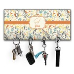 Swirly Floral Key Hanger w/ 4 Hooks (Personalized)