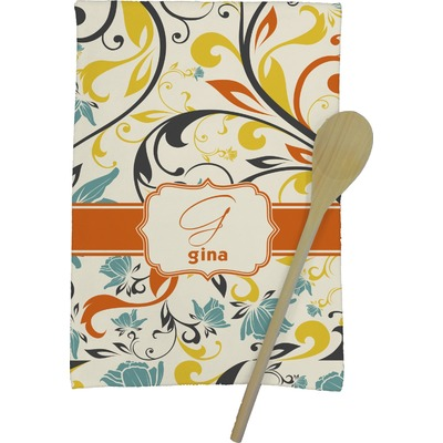 Swirly Floral Kitchen Towel - Full Print (Personalized)