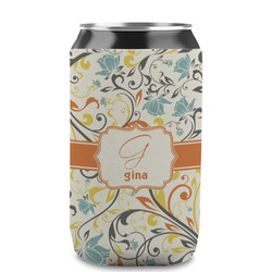 Swirly Floral Can Sleeve (12 oz) (Personalized)