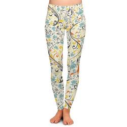 Swirly Floral Ladies Leggings (Personalized)