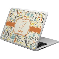 Swirly Floral Laptop Skin - Custom Sized (Personalized)