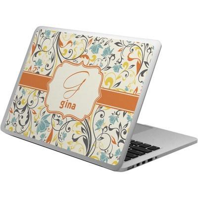 Swirly Floral Laptop Skin - Custom Sized (Personalized)