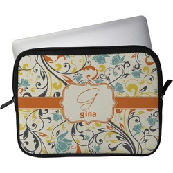 """Swirly Floral Laptop Sleeve / Case - 12"""" (Personalized)"""