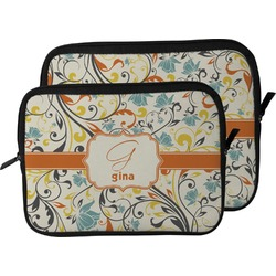 Swirly Floral Laptop Sleeve / Case (Personalized)