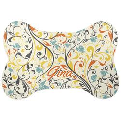 Swirly Floral Bone Shaped Dog Food Mat (Personalized)