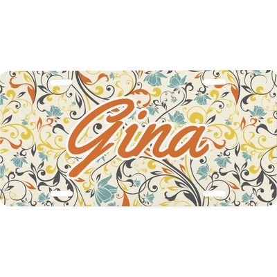 Swirly Floral Front License Plate (Personalized)