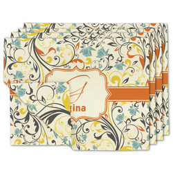 Swirly Floral Linen Placemat w/ Name and Initial