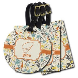 Swirly Floral Plastic Luggage Tags (Personalized)