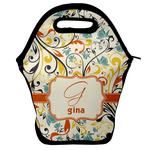 Swirly Floral Lunch Bag w/ Name and Initial