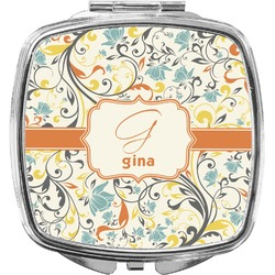 Swirly Floral Compact Makeup Mirror (Personalized)