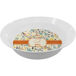 Swirly Floral Melamine Bowl (Personalized)