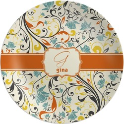 Swirly Floral Melamine Plate (Personalized)