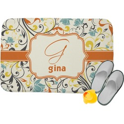 Swirly Floral Memory Foam Bath Mat (Personalized)