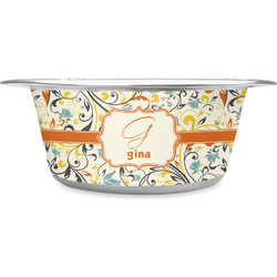 Swirly Floral Stainless Steel Pet Bowl (Personalized)