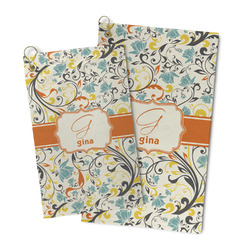 Swirly Floral Microfiber Golf Towel (Personalized)