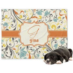 Swirly Floral Minky Dog Blanket (Personalized)