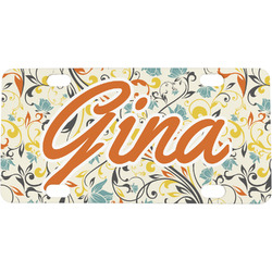 Swirly Floral Mini / Bicycle License Plate (Personalized)
