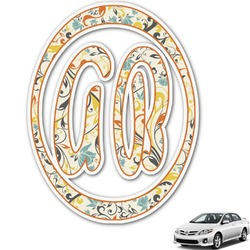 Swirly Floral Monogram Car Decal (Personalized)
