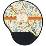 Swirly Floral Mouse Pad with Wrist Support