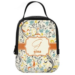 Swirly Floral Neoprene Lunch Tote (Personalized)