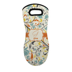 Swirly Floral Neoprene Oven Mitt - Single w/ Name and Initial