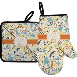 Swirly Floral Oven Mitt & Pot Holder (Personalized)