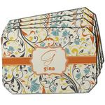 Swirly Floral Dining Table Mat - Octagon w/ Name and Initial