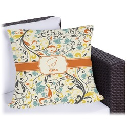 Swirly Floral Outdoor Pillow (Personalized)