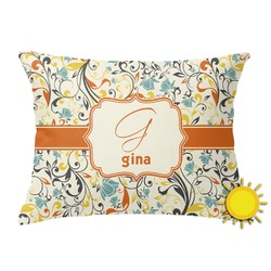 Swirly Floral Outdoor Throw Pillow (Rectangular) (Personalized)